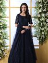 image of Eid Special Net Fabric Designer Navy Blue Color Readymade Party Wear Gown