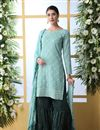 image of Light Cyan Color Party Wear Sharara Salwar Suit In Cotton Fabric With Embroidery Work