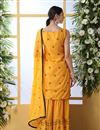 photo of Cotton Fabric Mustard Color Function Wear Embroidered Sharara Suit