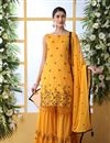 image of Cotton Fabric Mustard Color Function Wear Embroidered Sharara Suit