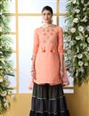 image of Embroidery Work On Cotton Fabric Peach Color Wedding Wear Sharara Salwar Suit