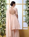 picture of Georgette Fabric Party Style Thread Embroidered Palazzo Suit In Peach Color