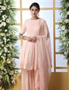 image of Georgette Fabric Party Style Thread Embroidered Palazzo Suit In Peach Color