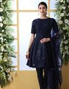 image of Party Style Georgette Fabric Navy Blue Color Thread Embroidered Designer Dress