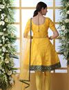 picture of Mustard Color Party Style Thread Embroidered Designer Suit In Art Silk Fabric