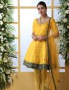 image of Mustard Color Party Style Thread Embroidered Designer Suit In Art Silk Fabric