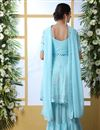 picture of Georgette Fabric Party Style Thread Embroidered Palazzo Suit In Sky Blue Color