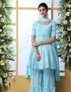 image of Georgette Fabric Party Style Thread Embroidered Palazzo Suit In Sky Blue Color