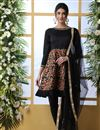 image of Party Style Black Color Thread Embroidered Designer Suit In Art Silk Fabric