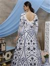 picture of Designer Function Wear White Color Net Fabric Thread Embroidered Gown