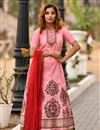 image of Hand Work Art Silk Fabric Pink Function Wear Readymade Gown