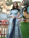 image of Art Silk Fabric Hand Work Wedding Wear Readymade Gown In Grey