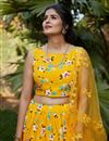 photo of Occasion Wear Lehenga In Yellow Color Crepe Silk Fabric
