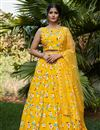 image of Occasion Wear Lehenga In Yellow Color Crepe Silk Fabric