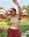 photo of Maroon Color Cotton Fabric Sangeet Wear Lehenga