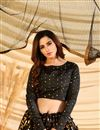 photo of Black Color Art Silk Fabric Sangeet Wear Foil Print Lehenga Choli