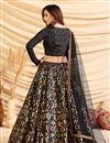 picture of Black Color Art Silk Fabric Sangeet Wear Foil Print Lehenga Choli