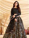 image of Black Color Art Silk Fabric Sangeet Wear Foil Print Lehenga Choli