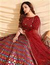 photo of Art Silk Fabric Maroon Color Wedding Wear Foil Print Lehenga Choli