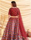 picture of Art Silk Fabric Maroon Color Wedding Wear Foil Print Lehenga Choli