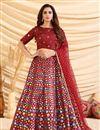 image of Art Silk Fabric Maroon Color Wedding Wear Foil Print Lehenga Choli