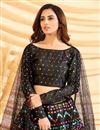 photo of Sangeet Wear Art Silk Fabric Foil Print Black Color Designer Lehenga Choli