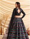 picture of Sangeet Wear Art Silk Fabric Foil Print Black Color Designer Lehenga Choli