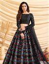 image of Sangeet Wear Art Silk Fabric Foil Print Black Color Designer Lehenga Choli