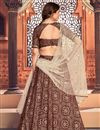 picture of Maroon Color Printed Function Wear Lehenga Choli In Tafetta Silk Fabric