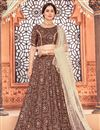 image of Maroon Color Printed Function Wear Lehenga Choli In Tafetta Silk Fabric