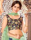 photo of Cotton Fabric Festive Wear Sea Green Color Printed Lehenga Choli