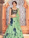 image of Cotton Fabric Festive Wear Sea Green Color Printed Lehenga Choli