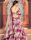picture of Peach Color Printed Sangeet Wear Lehenga Choli In Tafetta Silk Fabric