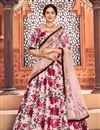image of Peach Color Printed Sangeet Wear Lehenga Choli In Tafetta Silk Fabric