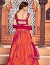 picture of Orange Color Cotton Fabric Reception Wear Printed Lehenga Choli