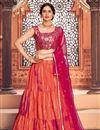 image of Orange Color Cotton Fabric Reception Wear Printed Lehenga Choli
