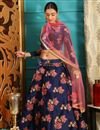 image of Function Wear Designer Navy Blue Lehenga Choli In Jacquard Fabric
