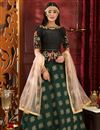 image of Traditional Function Wear Designer Dark Green Jacquard Fabric Lehenga Choli