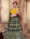 image of Scrupulously Embroidered Dark Green Color Festive Wear Designer Lehenga Choli In Art Silk Fabric