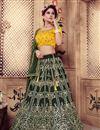image of Scrupulously Embroidered Dark Green Color Festive Wear Designer Lehenga Choli In Art Silk Fabric