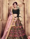 image of Fancy Black Color Bridal Wear Designer Art Silk Fabric Lehnega With Embroidery Design