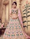 image of Fancy Pink Color Bridal Wear Designer Art Silk Fabric Lehnega With Embroidery Design