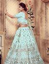 photo of Embroidered Art Silk Fabric Wedding Wear Designer 3 Piece Lehnega Choli In Fancy Light Cyan Color