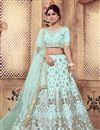 image of Embroidered Art Silk Fabric Wedding Wear Designer 3 Piece Lehnega Choli In Fancy Light Cyan Color