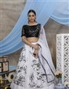image of White Color Sangeet Wear Printed Lehenga In Fancy Fabric