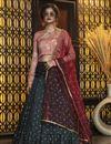 image of Dark Green Color Festive Wear Elegant Lehenga In Cotton Fabric