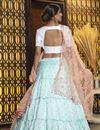 picture of Elegant Light Cyan Color Festive Wear Cotton Fabric Lehenga Choli