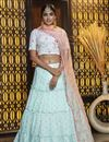 image of Elegant Light Cyan Color Festive Wear Cotton Fabric Lehenga Choli