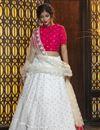 image of White Color Festive Wear Elegant Cotton Fabric Lehenga