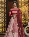 image of Pink Color Festive Wear Rayon Fabric Elegant Lehenga